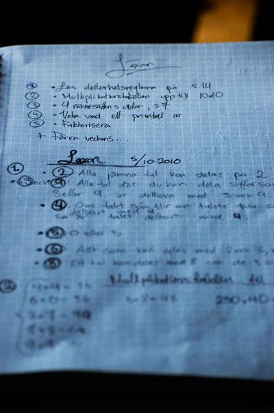 Läxan, med pennbyte och fina listor
