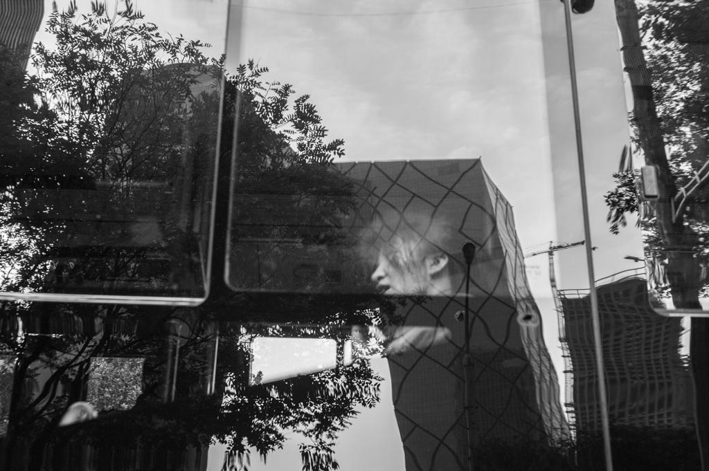 CCTV reflecting on a buswindow